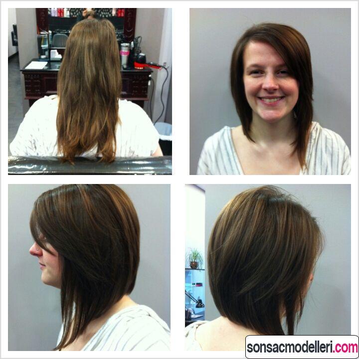 Öncesi sonrası uzundan bob saç kesimi