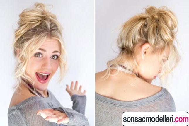 2 açıdan dağınık topuz saç modeli