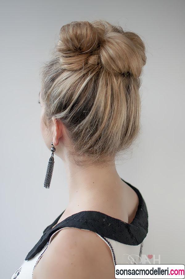 Kumral topuz saç