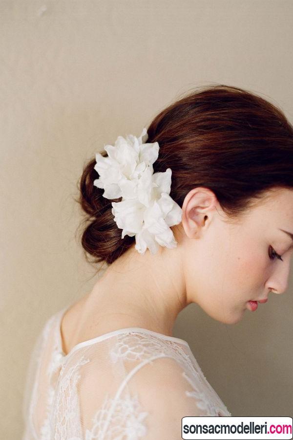 gelin saç çiçek modelleri