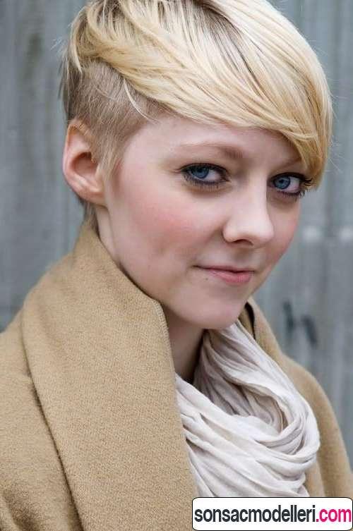 kısa pixie sarı saç modeli
