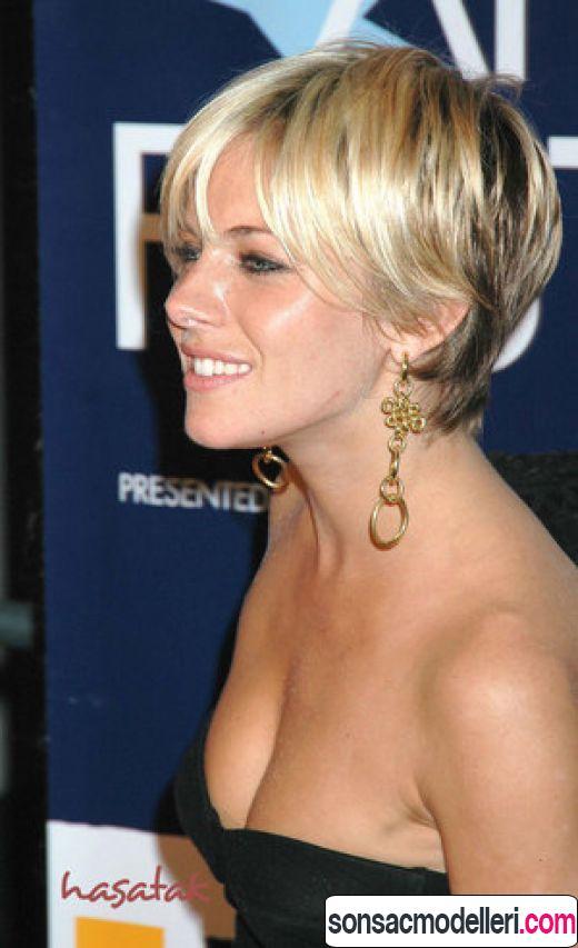 Kısa katlı ince telli saç kesim örneği