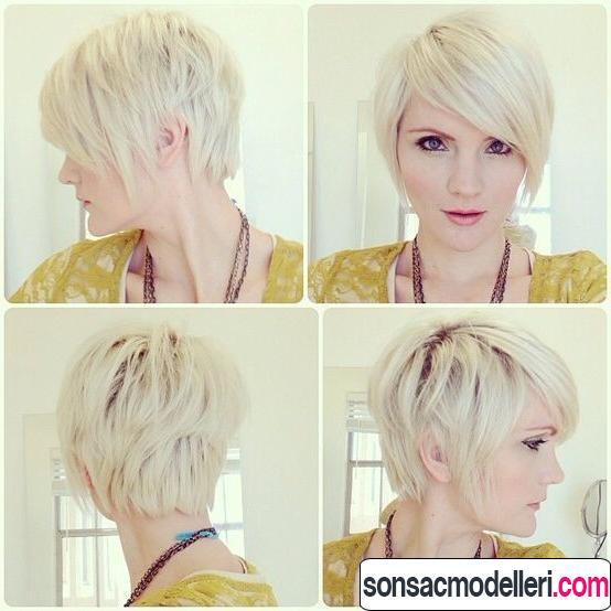 4 açıdan platin kısa saç modeli