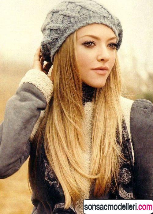Düz ve uzun saçlar için katlı saç modeli