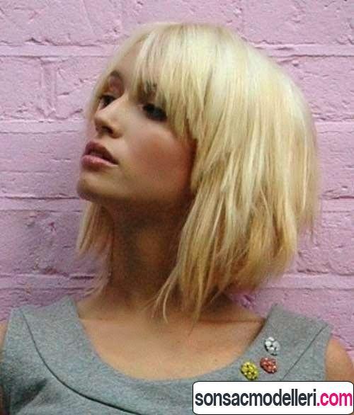 Sarı kısa küt saç modeli