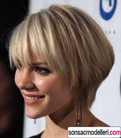 kısa küt sarı saç modeli