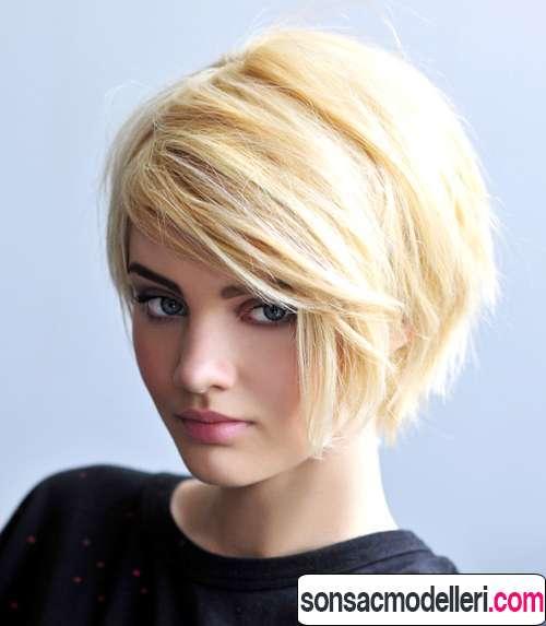kısa sarı harika saç modeli