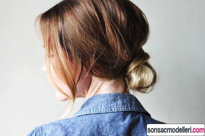 Orta boy saç için topuz saç modeli