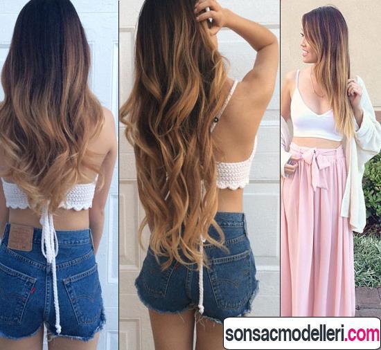 3 adet harika uzun ombre saç modeli