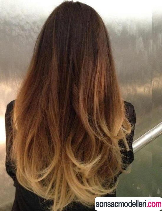 Uzun saç için ombre model örneği