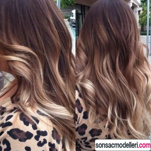 Uzun dalgalı ombre saç modeli örneği