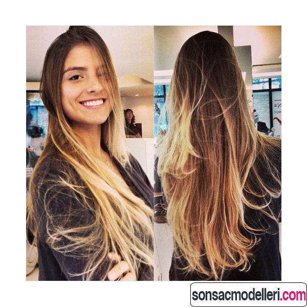 Uzun saç için harika ombre