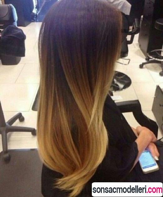 Uzun düz ombre saç modeli