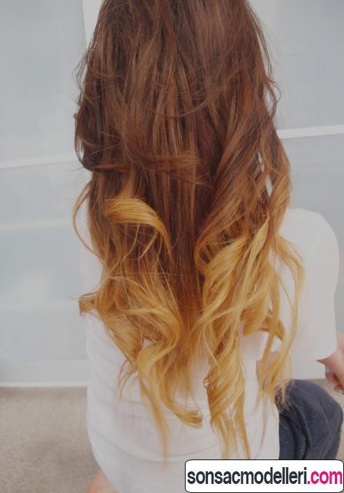 Uzun saç için ombre modeli