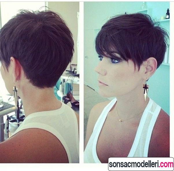 Kahverengi kısa saç model örneği