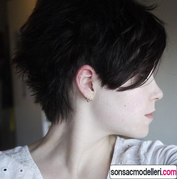 Yandan pixie saç modeli