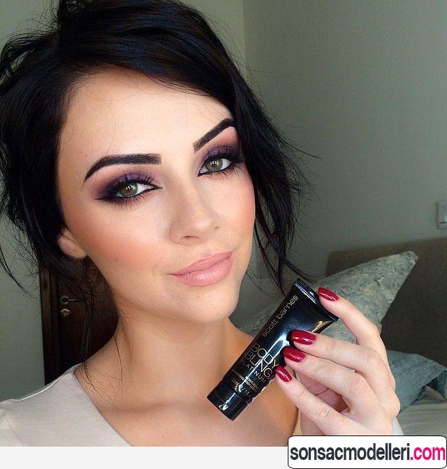 Siyah saça uygun makyaj
