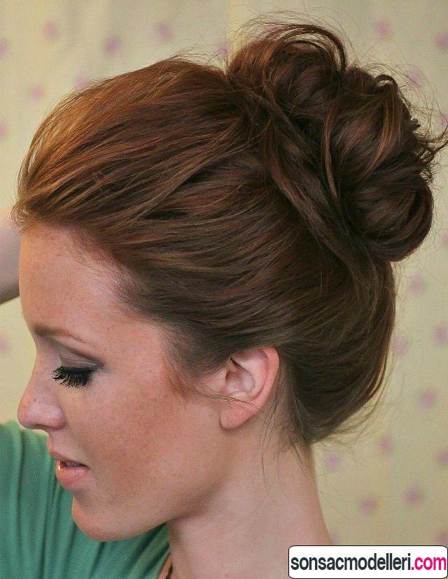Tepeden topuz saç stili