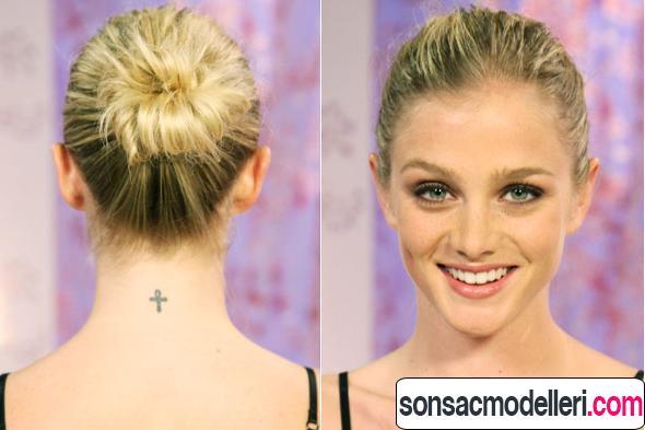 Ön ve arka açıdan topuz saç modeli örneği