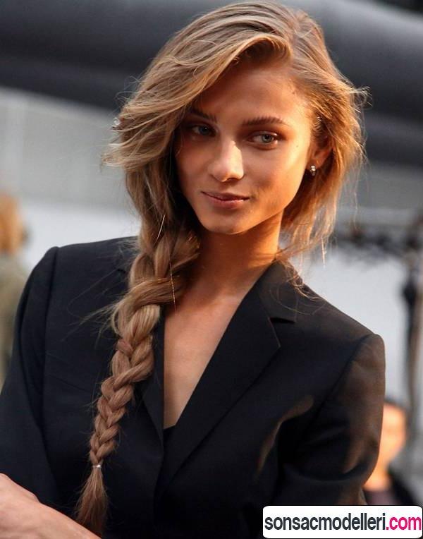 Uzun saçlar için örgü modeli