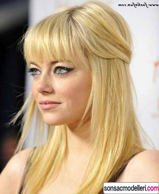 Kahküllü düz sarı uzun saç modeli