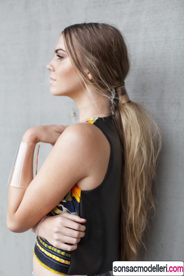 uzun saç için at kuyruğu modeli