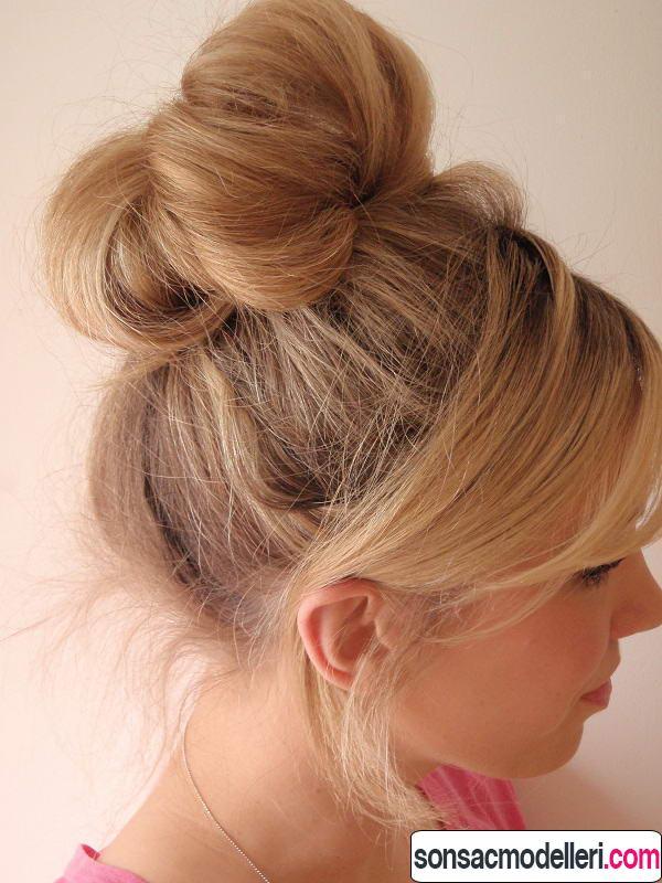 Uzun saçlar için topuz modeli