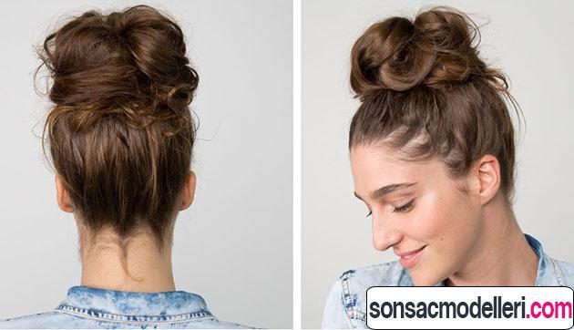 Arkadan ve önden topuz saç stili