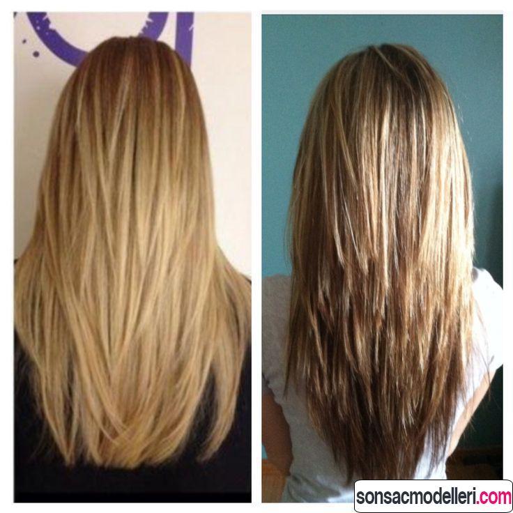 Düz ve uzun saçlar için katlı saç kesimleri