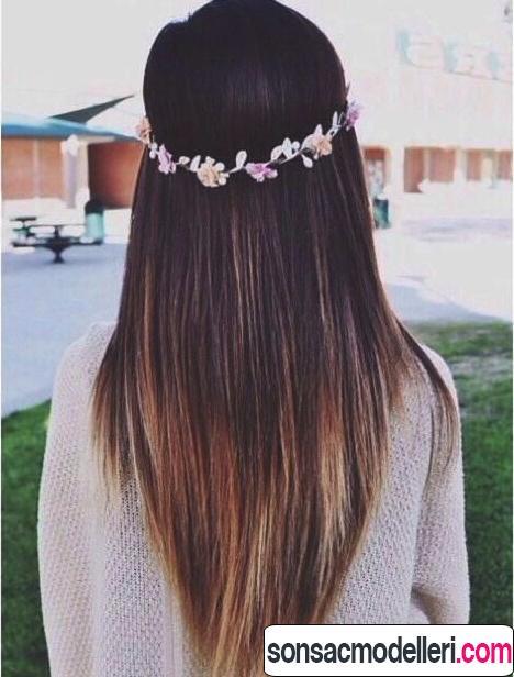 düz uzun v kesim saç modeli