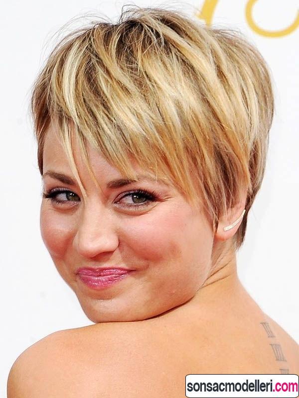 yuvarlak yüz için Katlı saç kesimi