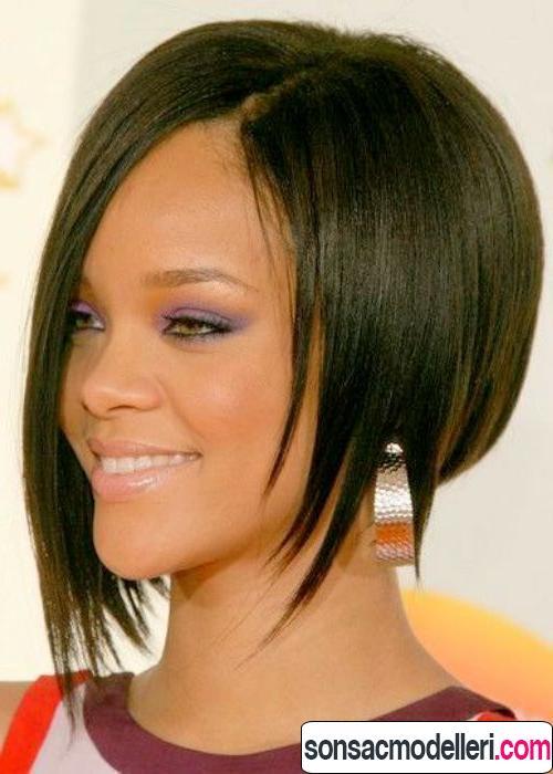 düz asimetrik saç modeli
