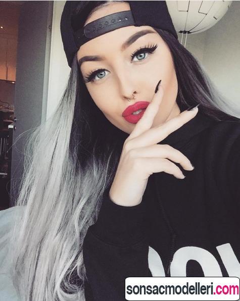 Uzun gri saç modelleri