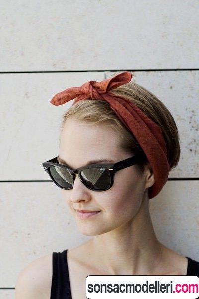 Bandana ile kısa saç modeli