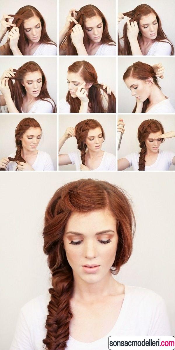 uzun kolay örgü saç modelleri