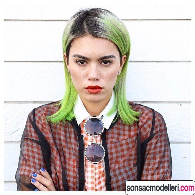 Neon yeşil saç rengi