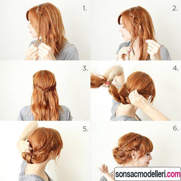 Örgülü topuz saç modelleri
