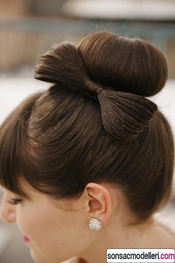yaratıcı saç modeli Kurdele topuz