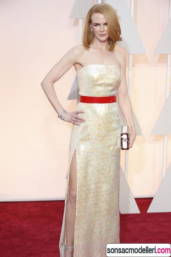 Nicole Kidman kırmızı halı saç modeli