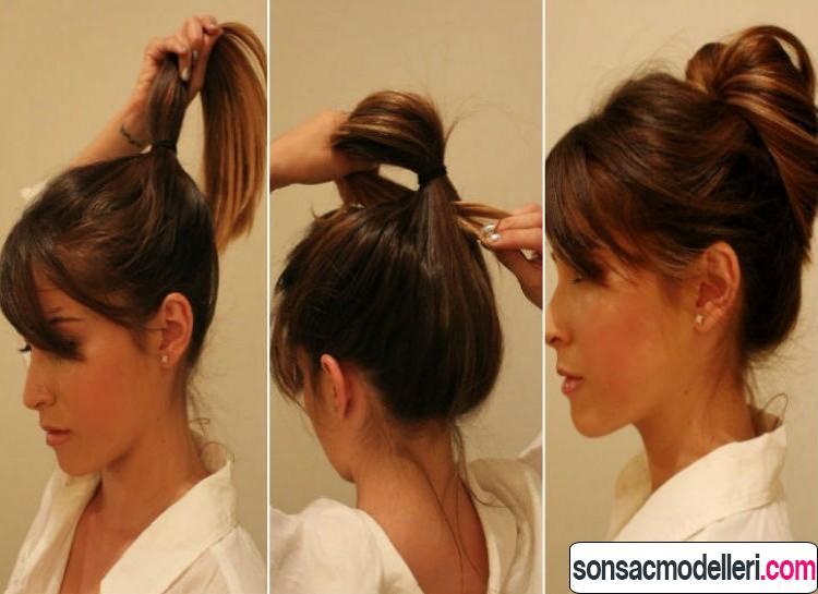 atkuyruğu topuz saç modeli