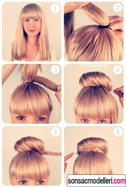 okul için topuz saç yapılışı