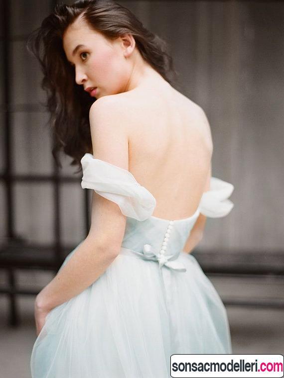 2016 düşük omuzlu gelinlik modası