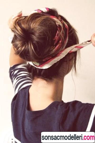 saç bandı ile topuz saç modeli