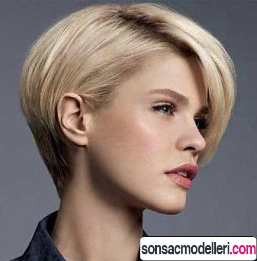 asimetrik perçemli kısa saç modeli