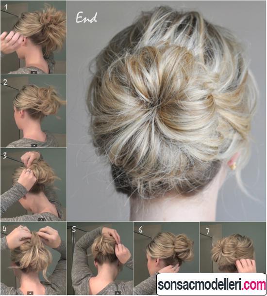 orta boy saçlar için topuz