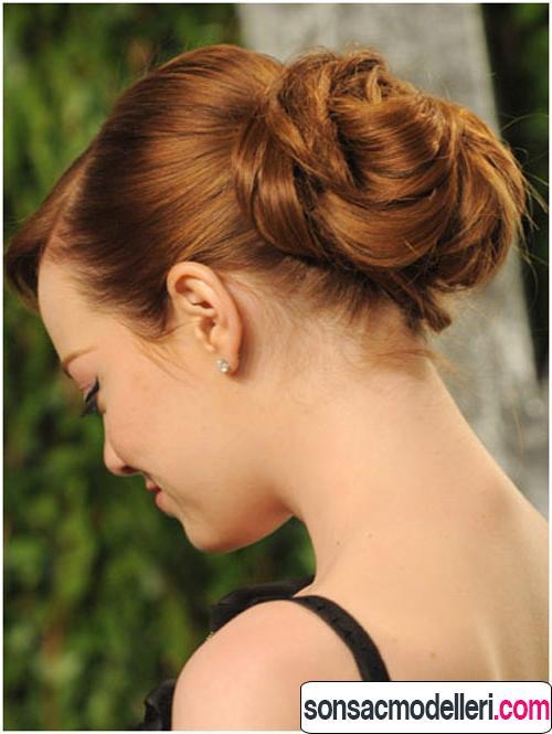 orta boy saçlar için topuz modelleri