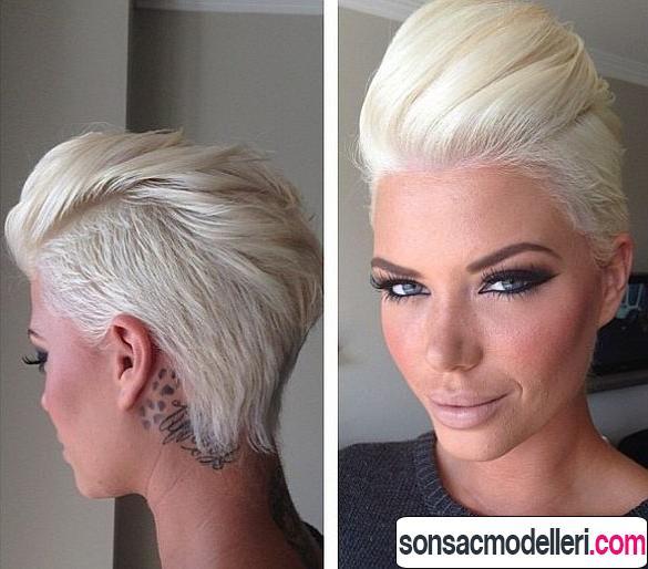 Kısa pixie platin rengi saç modeli