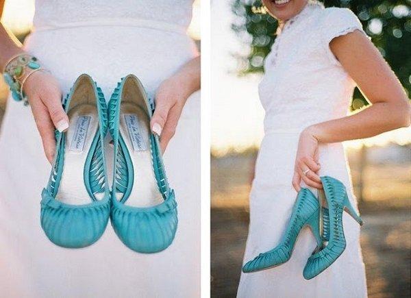 mavi renkli gelin ayakkabısı