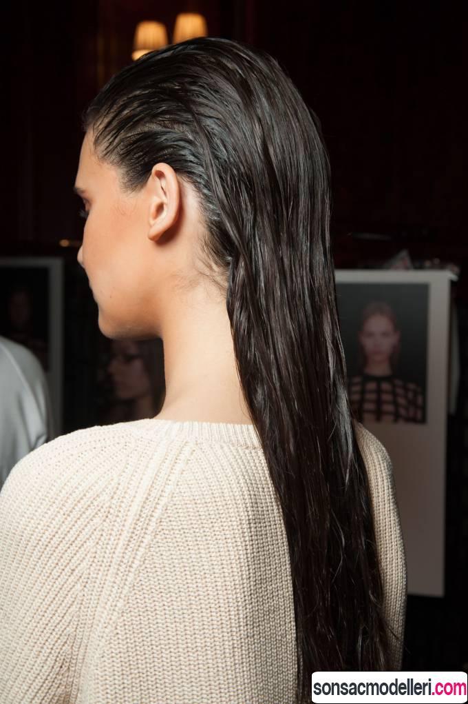 uzun ıslak saç modeli