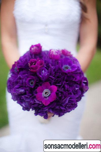 mor renk gelin çiçeği tasarımı